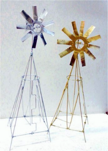 windmill final product, spray painted in metallics