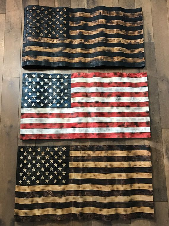 Rustic Flying American Flag Wood Stained Scheme American Flag