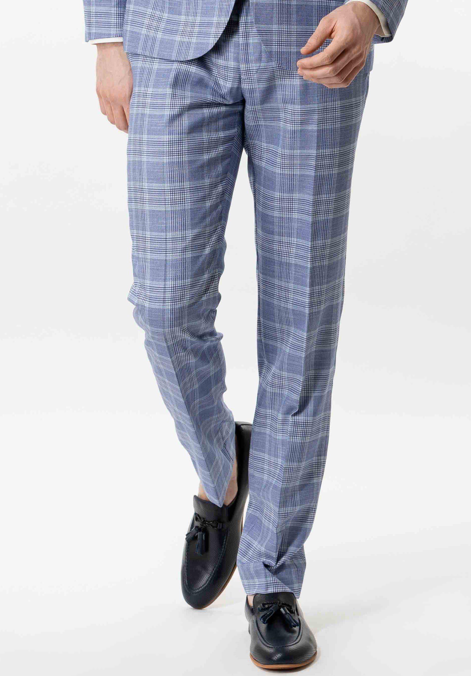 Blue And White Plaid Trouser Slim Fit | Lodevole – W40 – L36