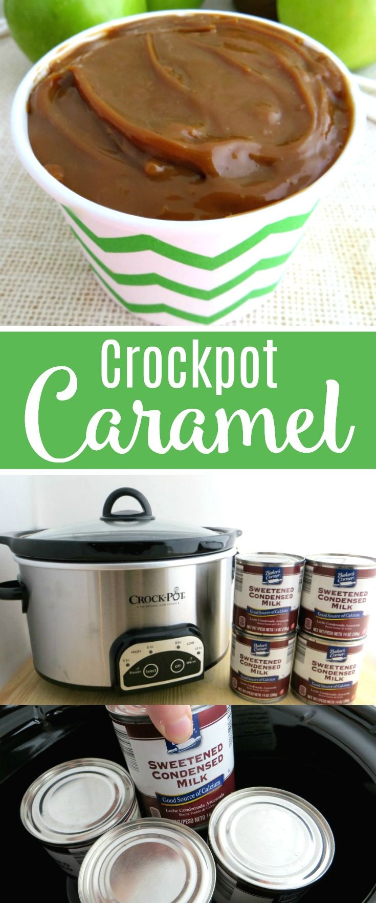 Easy Crockpot Caramel Sauce Made With 1 Ingredient Delicious Dip For Apples Or As A Toppi Crock Pot Desserts Sweetened Condensed Milk Recipes Caramel Desserts