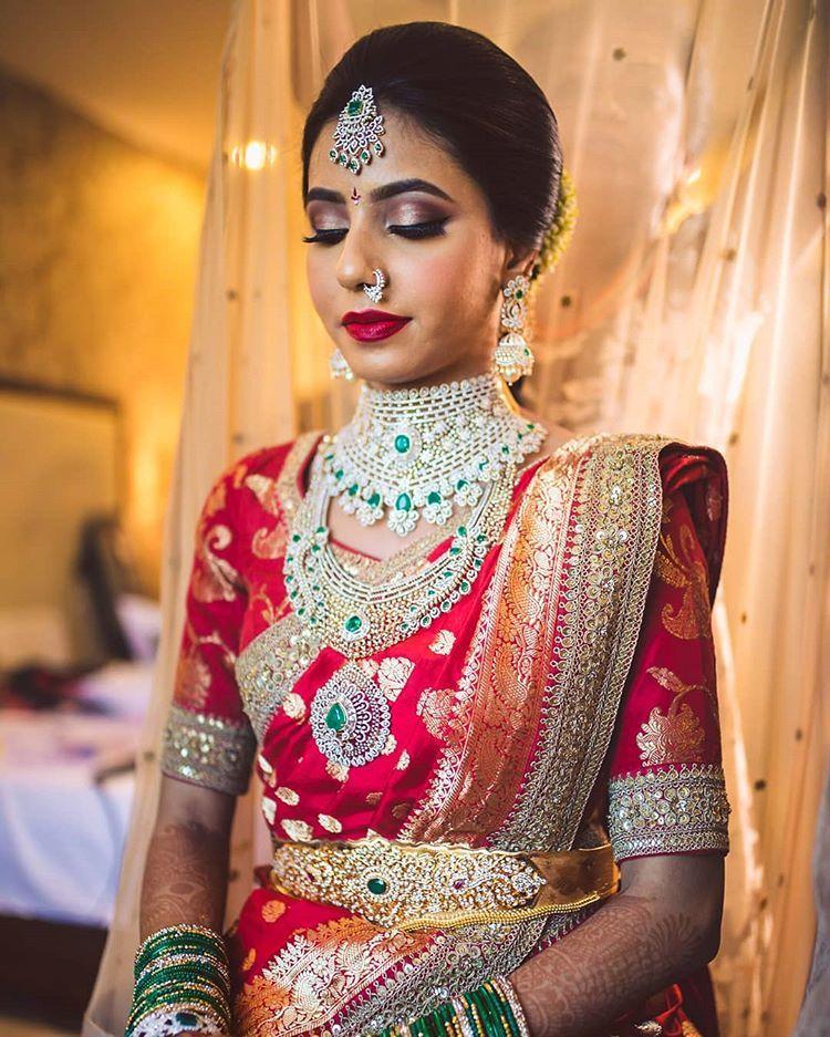 "Photo of afsha rangila – makeupartist! on Instagram: ""The lovely @pooja_kesireddy Wedding look! Pc @weddingsbykishor  Saree @bridesofsabyasachi @sabyasachiofficial  #weddings #bridesofinstagram…"""