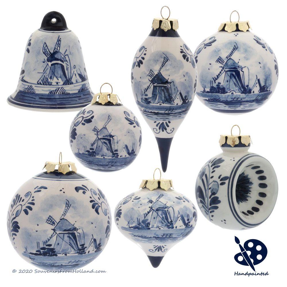 Delft Blue Delftware Christmas Ornaments Handpainted Blue Christmas Ornaments Christmas Ornaments Hand Painted
