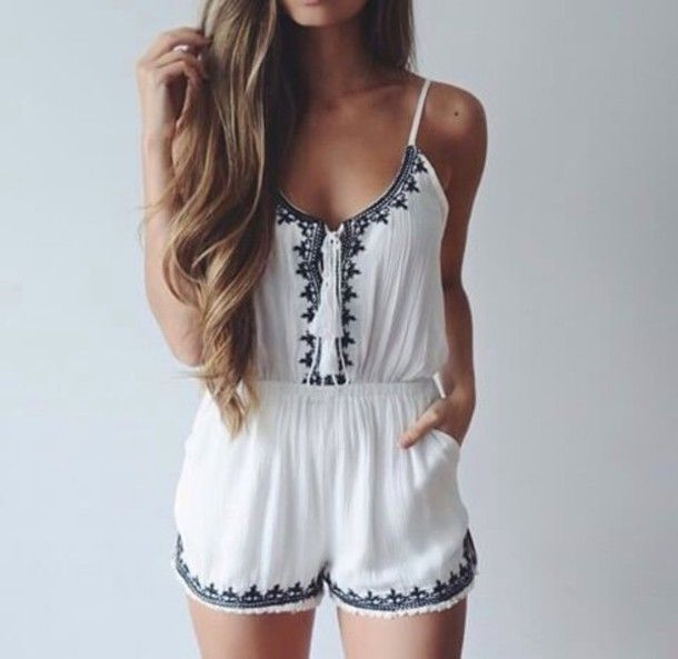 375f35b0789e summer outfit white fancy tumblr outfit long hair romper white romper cute  cute romper hippie vintage girly beach style clothes hair black and white  ...