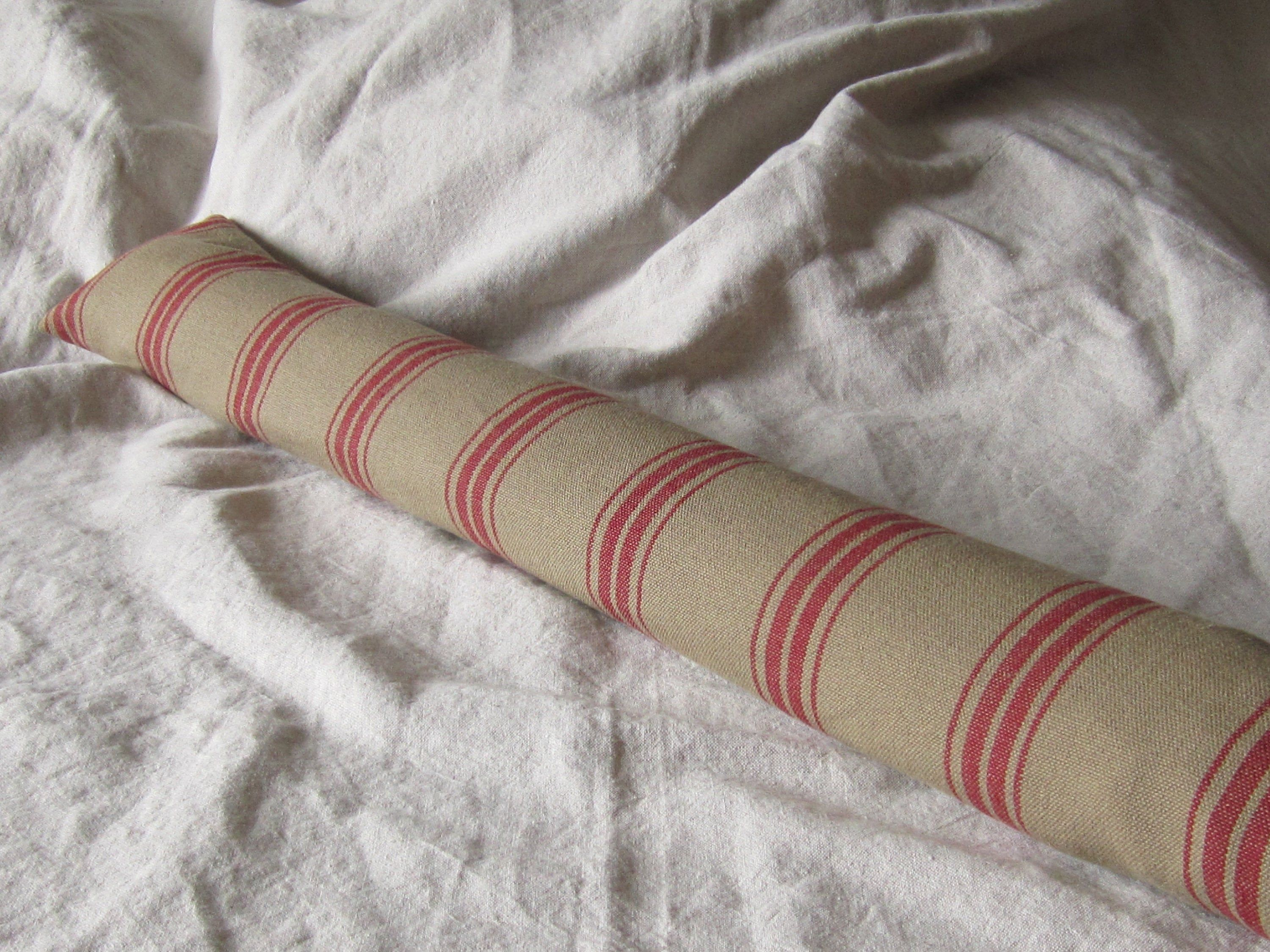 Ticking Draught Excluder French Farmhouse Draft Excluder Fabric Draught Stopper Cottage Draft Stop Tan Red Striped Draft Stopper Ticking Fabric Draft Stopper Draught Excluder