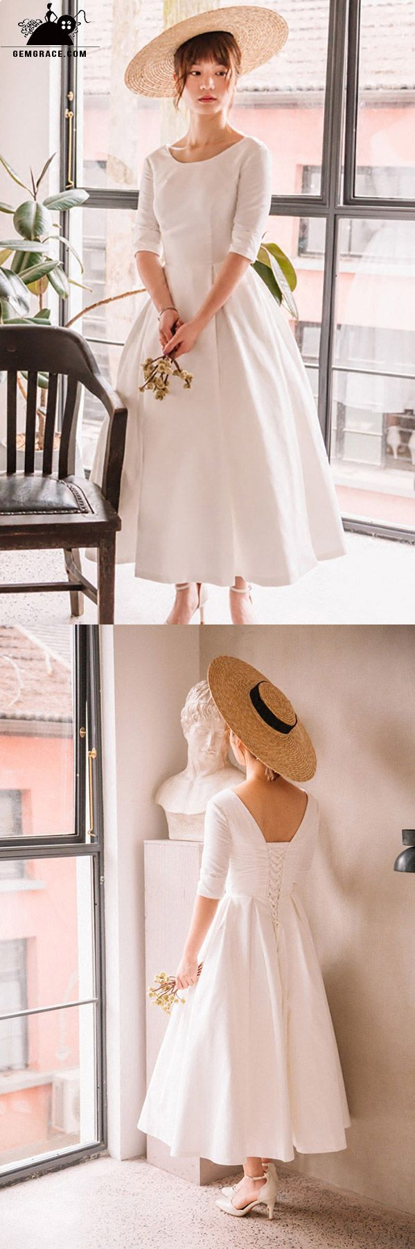 Vintage tea length flare simple wedding dress satin with half