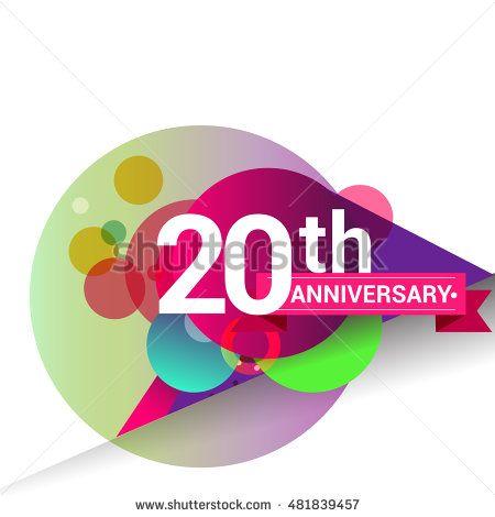 20th Anniversary logo, Colorful geometric background vector design - label design templates