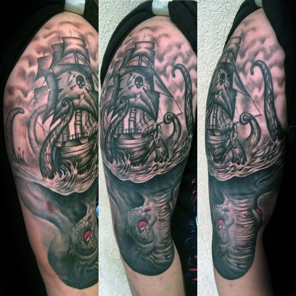 Legendary Sea Monster Mens Kraken Half Sleeve Tattoo ...