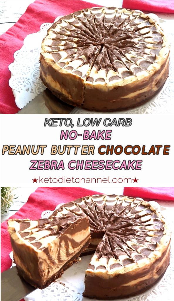 Keto No Bake Peanut Butter Chocolate Zebra Cheesecake Low Carb Gluten Free Sugar Free Low Carb Recipes Dessert Healthy Cheesecake Low Carb Cheesecake