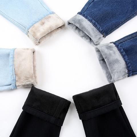 c6b1a107651 2018 New Plus Velvet Thicker Women Jeans Warm High Waist Trousers Cowboy  Pants Loose Denim Jeans