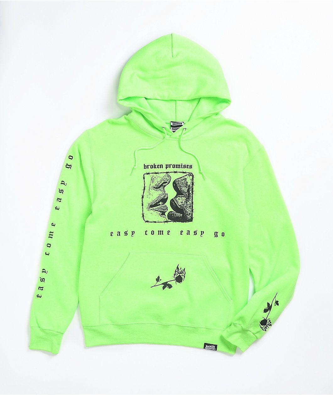 Broken Promises Easy Go Neon Green Hoodie Zumiez In 2021 Green Hoodie Hoodies Hoodie Zumiez [ 1260 x 1060 Pixel ]