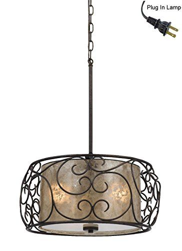 Plug In Rod Hung Mica Bronze Forged Iron Drum Pendant Light Swag Lamp Hanging Chandelier 19 W