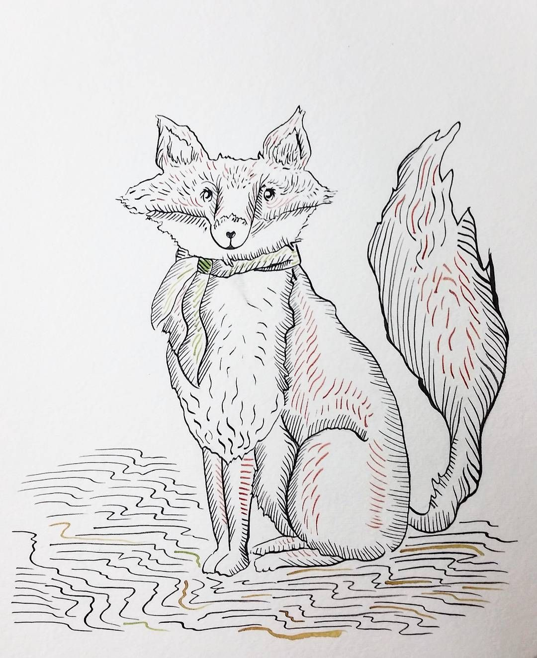 I now done with drawing for the semester so let's celebrate with a fox #paint #painting #illustration #drawing #line #watercolorpainting #fox #foxart#makemoreart #artwithfriends #artwork #artlife #arti#artwork by sarahdipity13