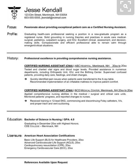 Cna Resume Sample Resume Sample  Cna  Pinterest