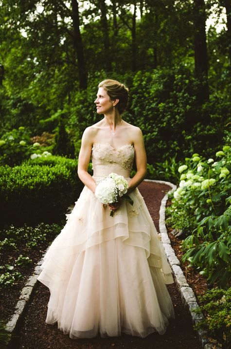 Real bride Melanie in Wtoo Olivia gown. Style 17763 in Oatmeal | Our ...