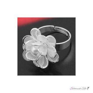 Ring Perlen Blüte versilbert  im Organza Beutel EDEL