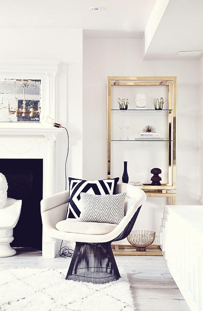 Interior Design Living Room: Warren Platner White Arm