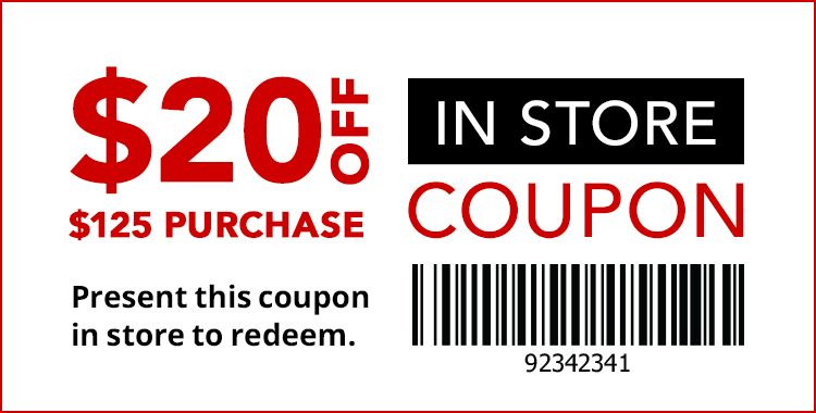 20 Off 125 In Store Coupon Store Coupons Coupons Marketing