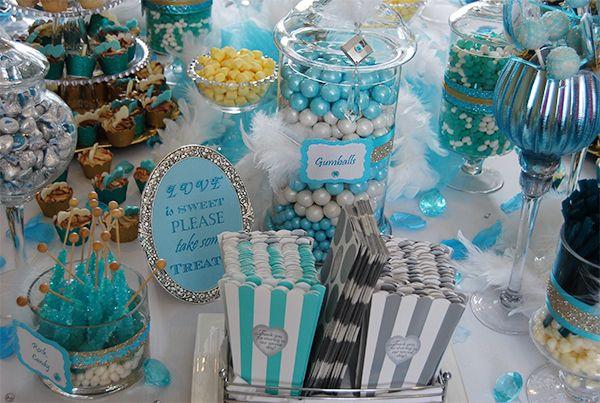 Blue And Gold Cinderella Bridal Shower Dessert Table Cinderella Bridal Shower Bridal Shower Desserts Table Bridal Shower Desserts