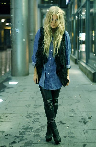 fashion - streetstyle - leather leggings, fringed vest, jean shirt