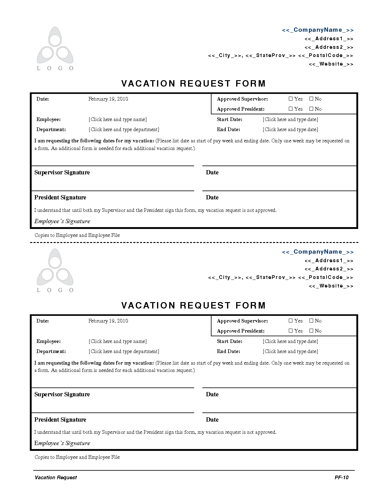 2010 Employee Vacation Request Form Employee Forms