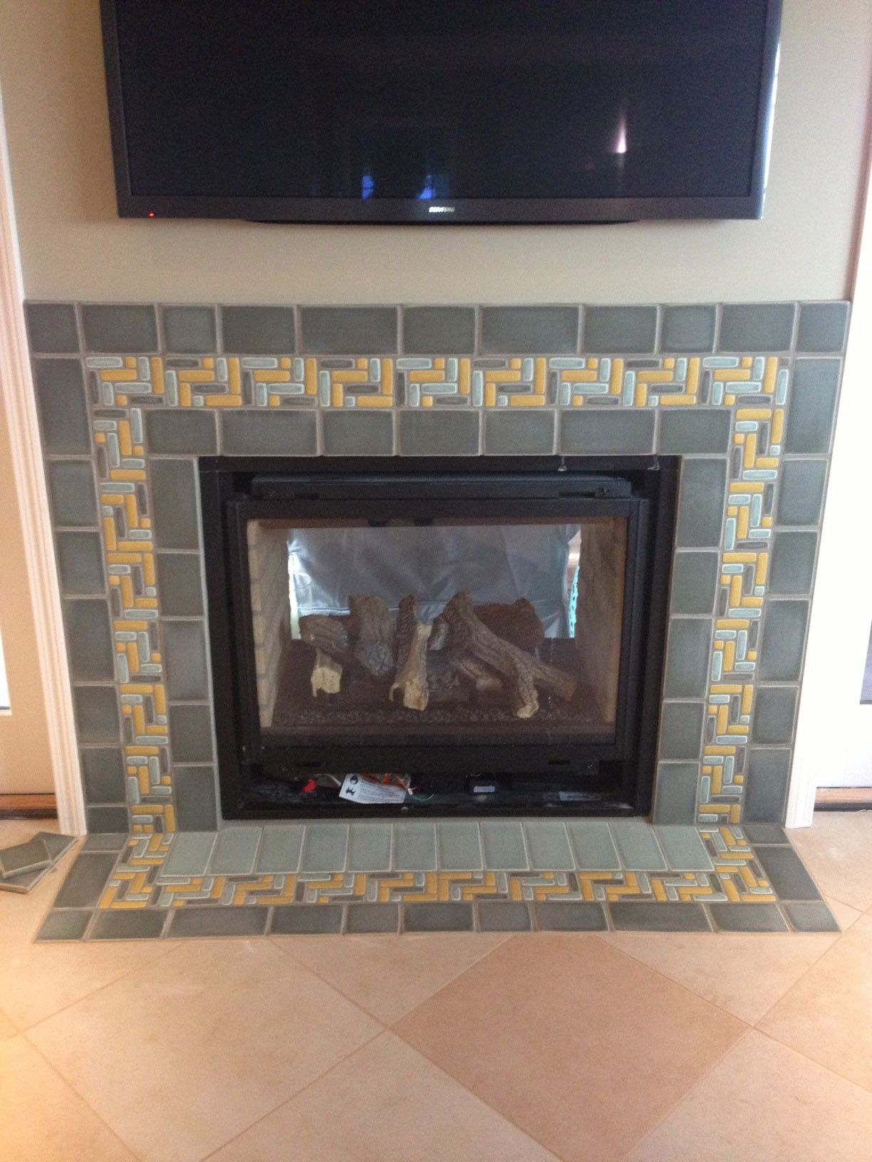 grey golden storm blue mosaic fireplace fireplaces by motawi