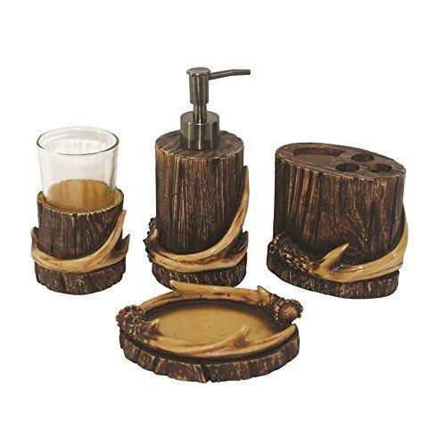 4 Pc Antler Bath Set Tumbler Soap Dispenser Toothbrush Holder Soap