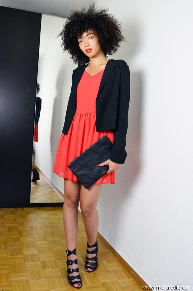 Quelle veste avec robe corail