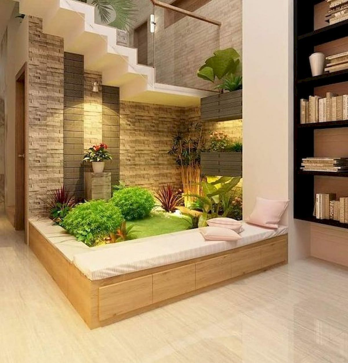 15 Perfect Indoor Garden Design Ideas For Fresh Houses — Design & Decorating is part of Interior garden - Having your own garden at home is one of the dreams of many people  The presence of the park will make the house feel more beautiful and look aesthetically