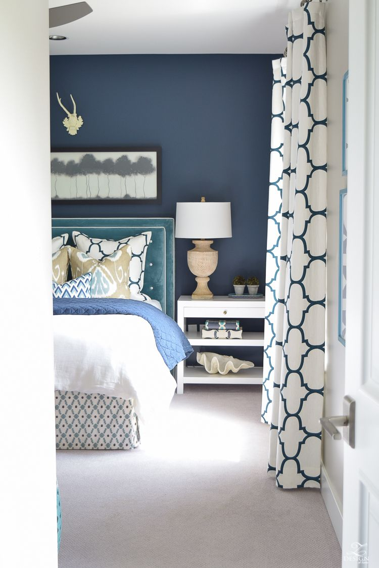 Master bedroom navy blue  A Guest Room Retreat Tour  Benjamin moore Blue colors and Gray