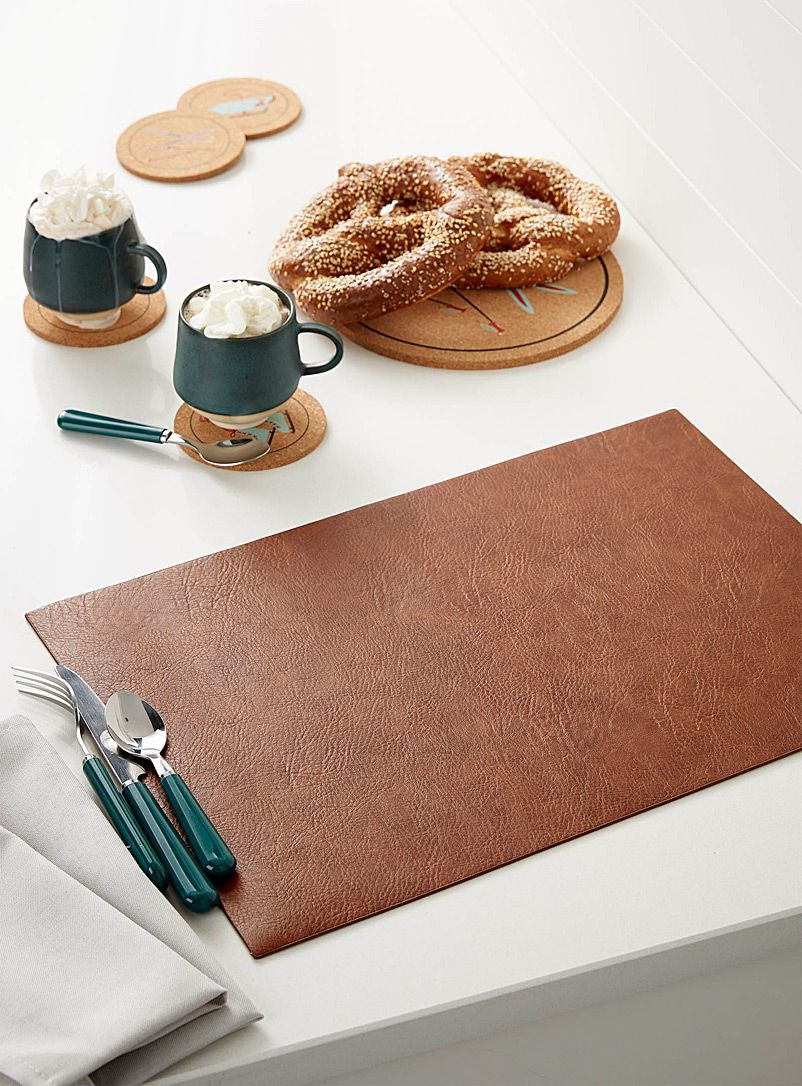 Cognac Faux Leather Placemat Placemats Leather Coaster Set Leather Coasters