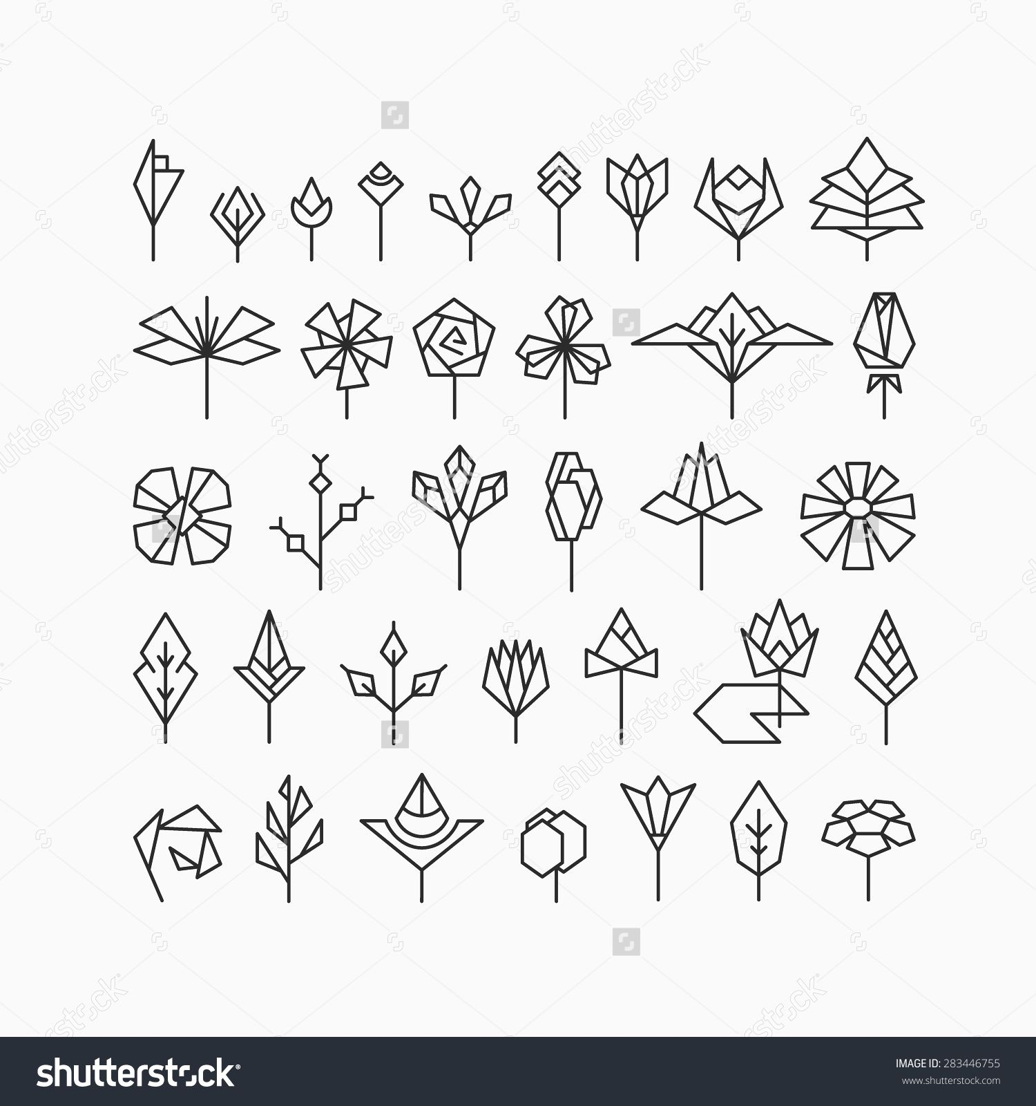 Hipster geometrical flowers floral design elements set of hipster geometrical flowers floral design elements set of isolated symbols signs biocorpaavc Gallery