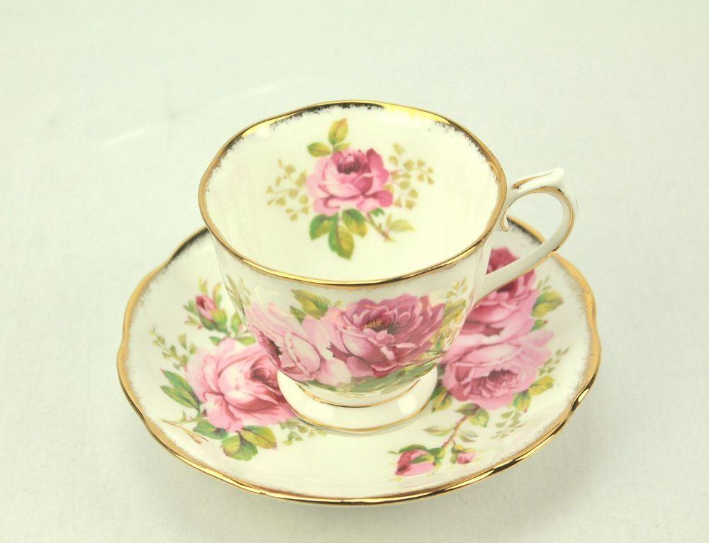 Royal Albert AMERICAN BEAUTY Pink Roses Bone China Tea Cup & Saucer ENGLAND #RoyalAlbert