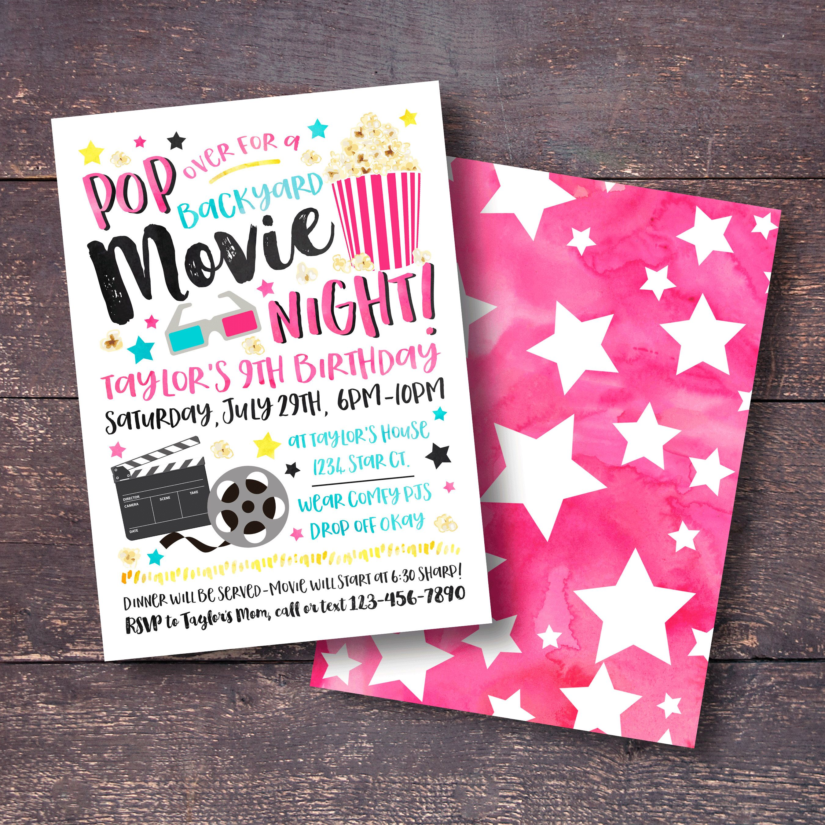 Movie Birthday Party Invitation | Order your personalized birthday ...