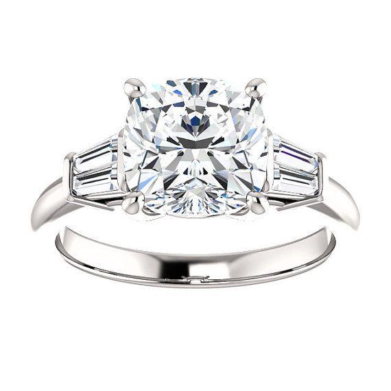 Lannyte Diamond Cushion Engagement Ring 14k White Gold 1, 1.5, 2,3 ct. Center Bridal Wedding Ring Baguette Diamonds New Wedding Ring