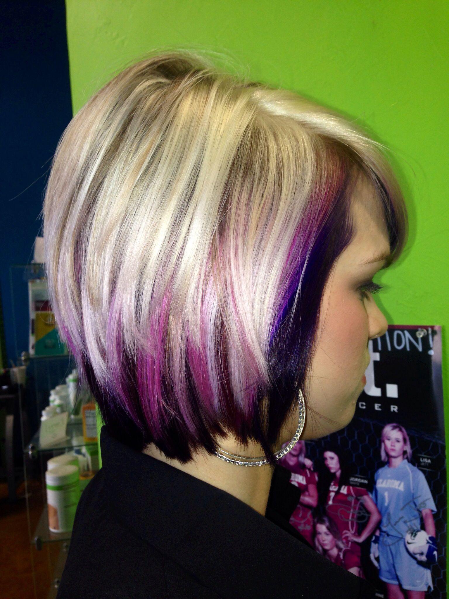 Pink Purple And Blonde Hair Hair Styles Peekaboo Hair Underlights Hair