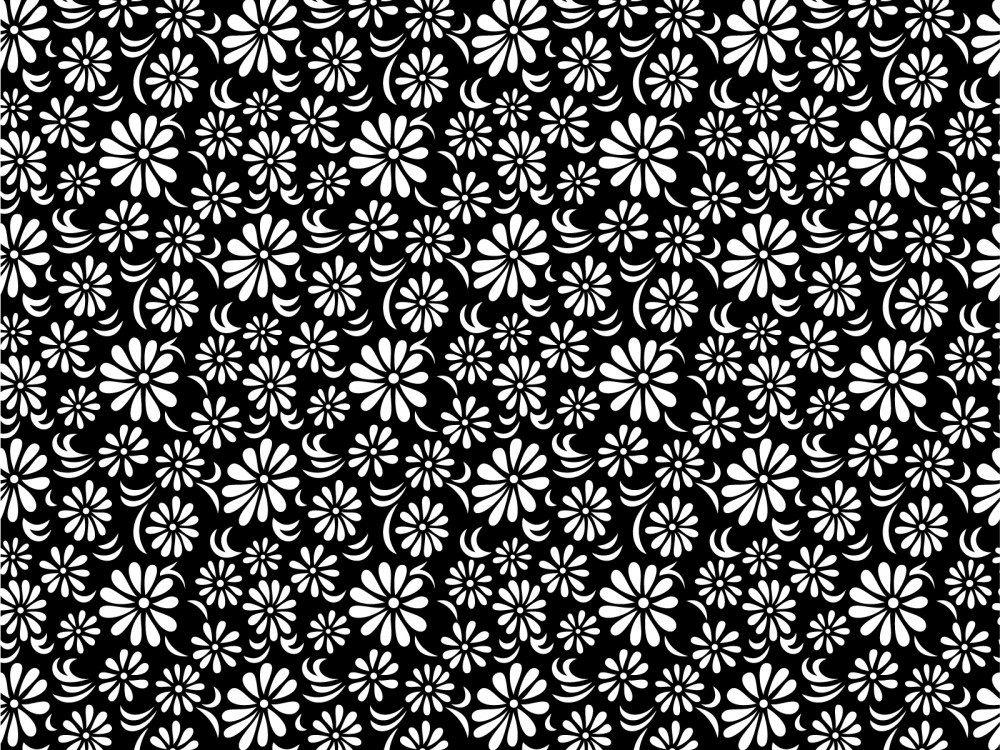 018 floral print black white