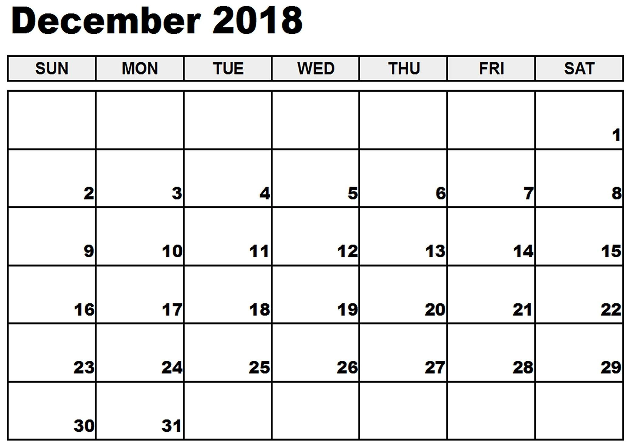 image regarding Oct Calendar Printable Pdf identify December 2018 Printable Calendar Notes In direction of Do Checklist Reminders