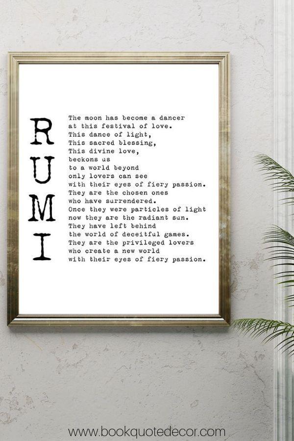 Rumi Poem The Privileged Lovers Wedding Print Or Love Poem Etsy Minimalist Book Minimalist Artwork Elegant Wall Art