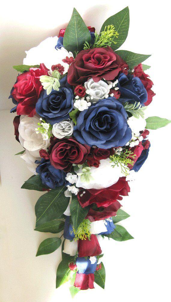 Wedding Bouquet Bridal Bouquet Silk Flower Bouquet Burgundy Navy