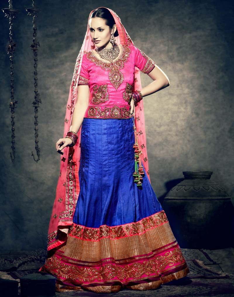 Buy blue art silk designer lehenga online in low price at variation