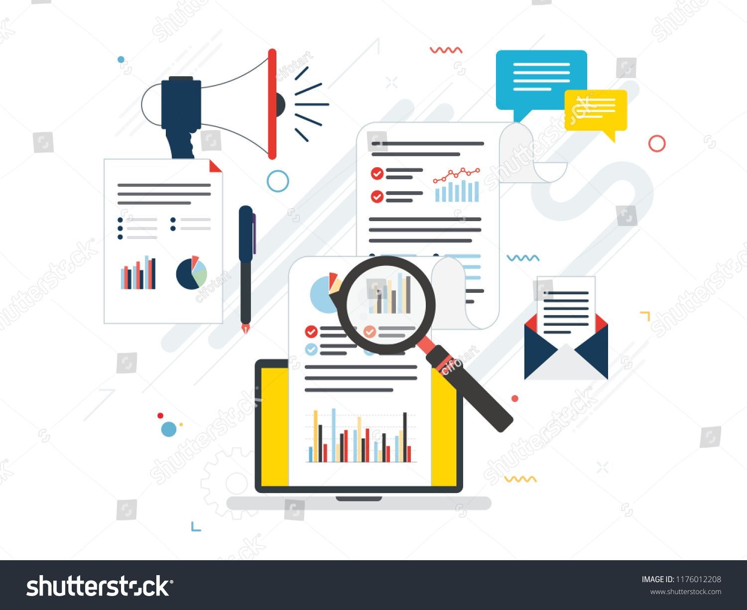 Flat Design Concepts For Business Marketing Analytics And