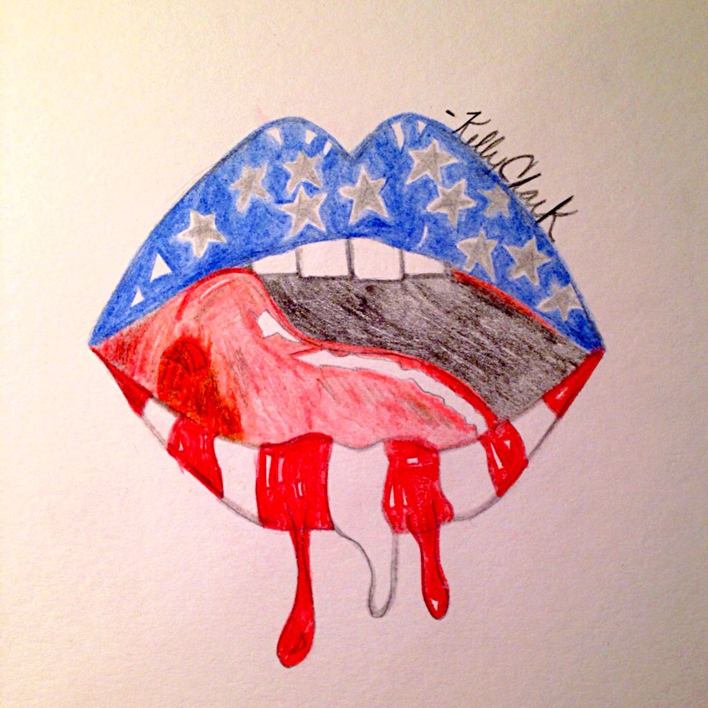Colored pencil art project bleed red white and blue for