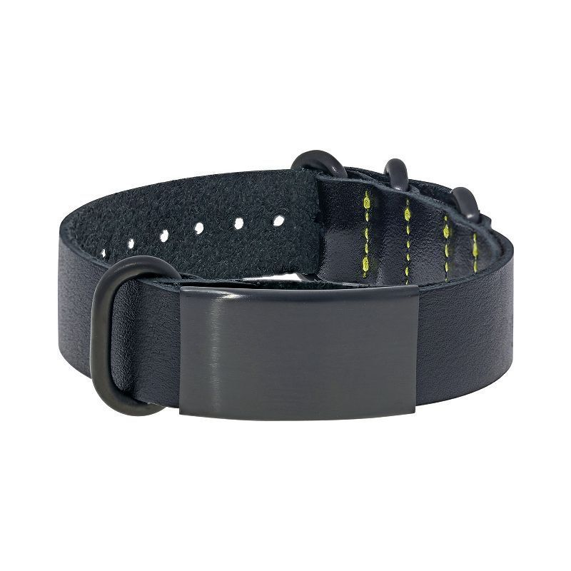 Lynx Leather and Black Ion-Plated Stainless Steel ID Bracelet - Men, Size: 10""
