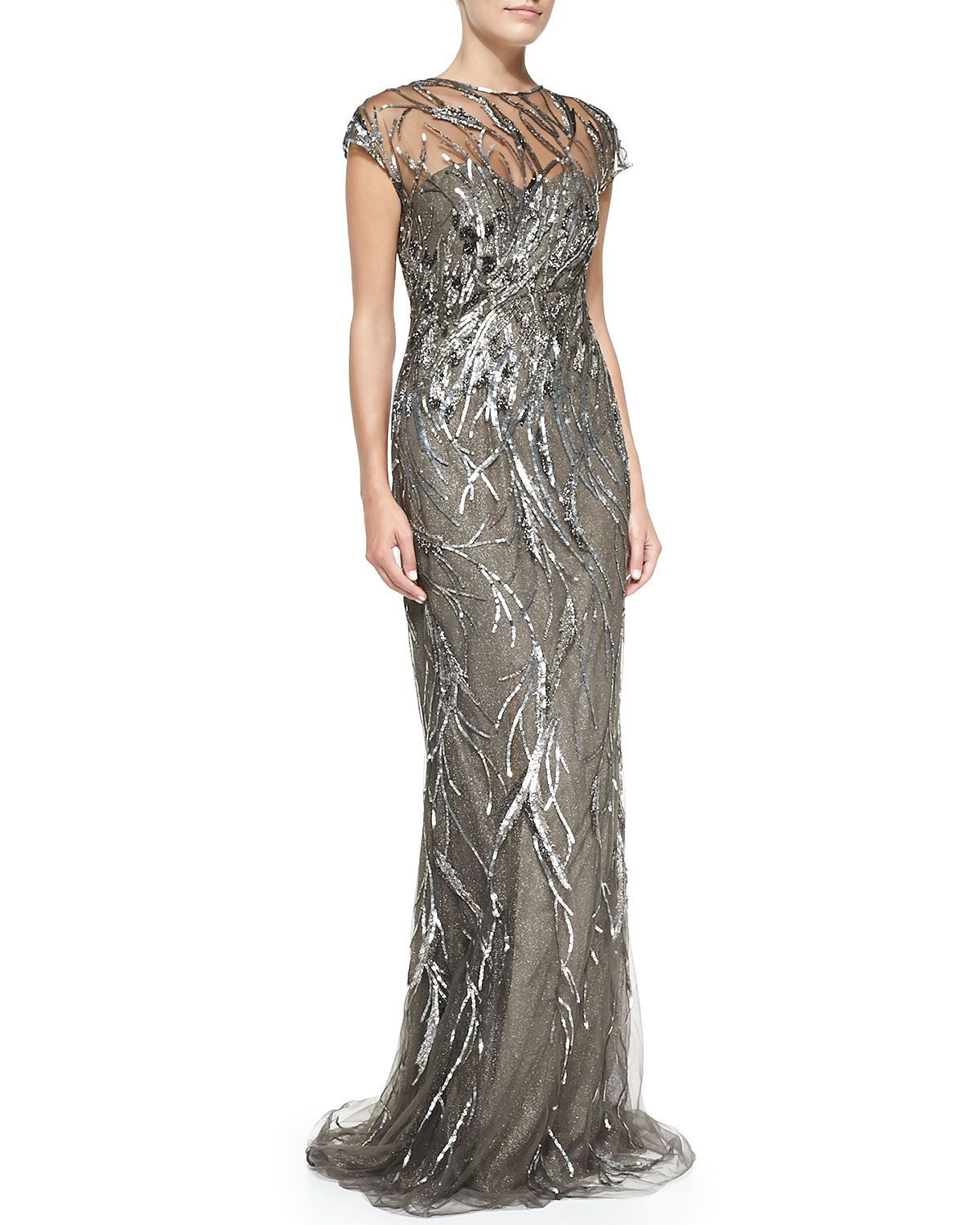 Cap-Sleeve Patterned Sequined Gown by Rene Ruiz at Neiman Marcus ...