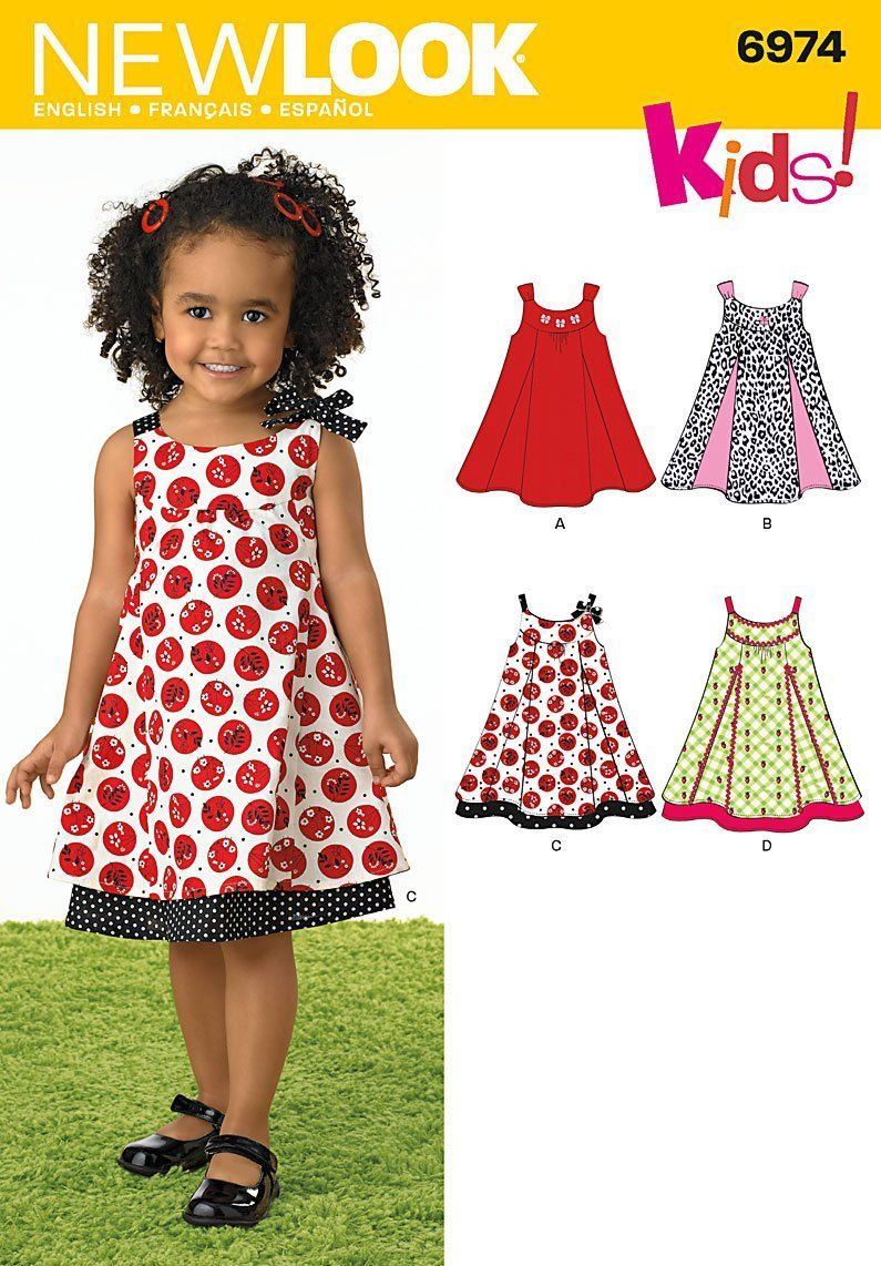 Amazon.com: New Look Sewing Pattern 6974 Toddlers\' Dresses, Size A ...