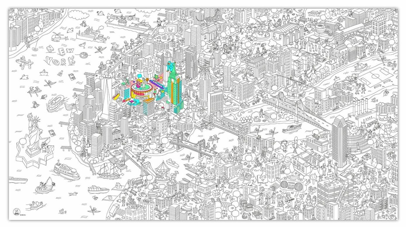 MoMA NYC Coloring Poster - adult coloring taken to a new level | champagne & black coffee   #amazon