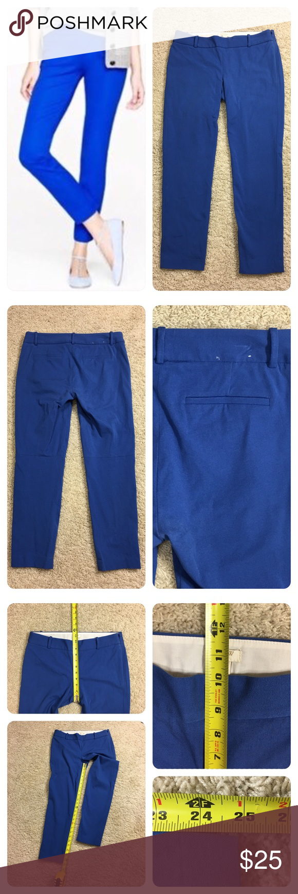 """J. Crew Winnie pant in stretch twill J. Crew royal blue Winnie pant in stretch twill. These are such a pretty color and perfect for spring and summer. zipper on the side. """" Featuring stretchy cotton  (5% Elastane) and a superslim fit, it may just be the most flattering pant you'll ever own—and the most comfortable too.""""  Fitted through hip and thigh, with a skinny, ankle-length leg.  No flaws noted. J. Crew Pants Ankle & Cropped"""