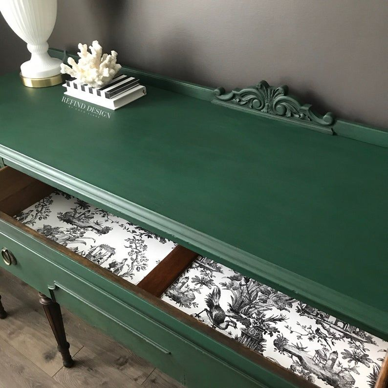 SOLD-Victorian Buffet, Green Modern Sideboard, Traditional