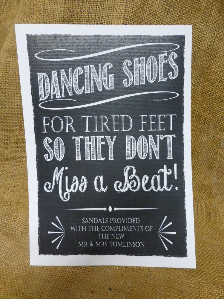 Personalised Dancing Shoes Wedding Sign Flip Flop Tired Feet Chalkboard Vintage