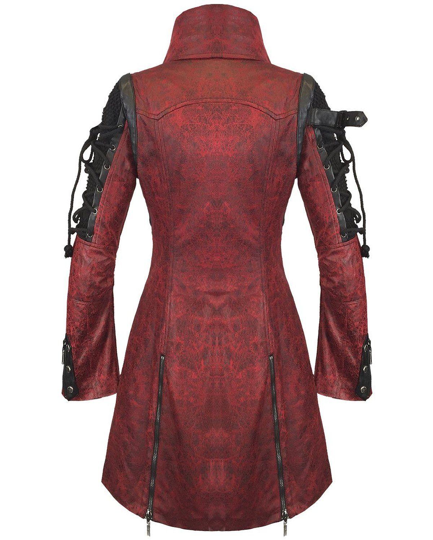d3408fc6a9dcc Poison Punk Rave chaqueta impermeable para hombre de color rojo piel  sintética de color negro perchero de pared de fangbanger Steampunk Diseño  militar de ...